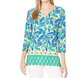 Pappagallo S green blue floral Tunic top shirt